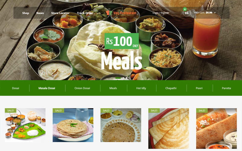 Online Restaurant Website Theme Restaurant Menu Listing